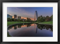 Framed Gateway Arch Reflection Sunset