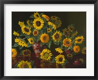 Framed Sunflowers with Two Crimson Vases