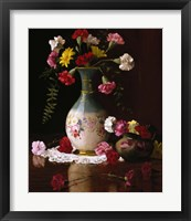 Framed Carnations in a Victorian Vase