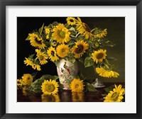Framed Sunflowers in a Chinese Peacock Vase