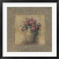Red Flowers In Vase Framed Print