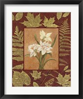 White Flowers With Leaf Border Framed Print