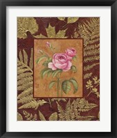 Pink Flowers With Leaf Border Framed Print