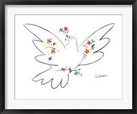 Framed Colombe Avec Fleurs