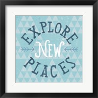 Mod Triangles Explore New Places Blue Framed Print