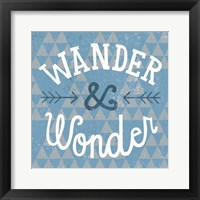 Mod Triangles Wander and Wonder Blue Framed Print