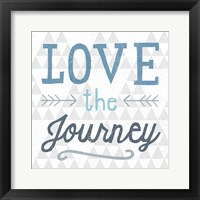 Mod Triangles Love the Journey Blue Framed Print