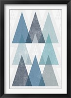 Mod Triangles IV Blue Framed Print