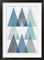 Mod Triangles IV Blue Framed Print