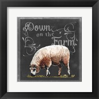 Framed Chalkboard Farm Animals IV