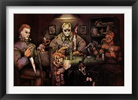 Framed Slashers Playing Poker
