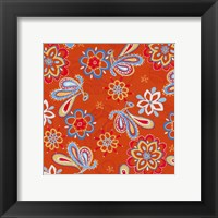 Framed Orange Paisley