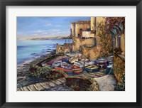 Framed Basket Of Boats