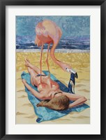 Framed Flamingo On Sun Bather