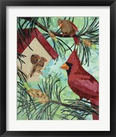 Framed Cardinals And Birdhouse