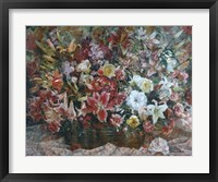 Framed Flowers on Checkered Tablecloth