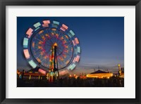 Framed Fast Motion Red and Blue Lit Ferriswheel