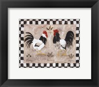 Framed Two Roosters