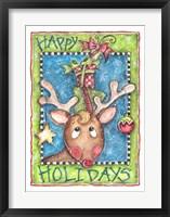 Framed Happy Holidays Reindeer