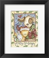 Framed Happy Holidays - Dog, Cat