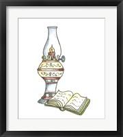 Framed School Lamp & Book