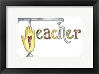 Framed Teacher With Heart Hand