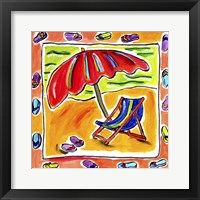 Framed Beach Chair, Umbrella, Flip Flops