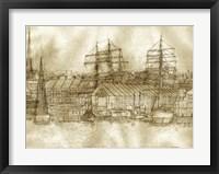 Framed Boston Harbor c. 1877 Sepia Tone