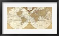 Framed Gilded World Hemispheres I