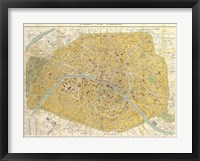 Framed Gilded Map of Paris