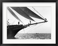 Framed Ship Crewmen Standing on the Bowsprit, 1923