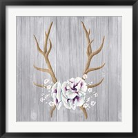 Framed Antlers and Poppies I Sq