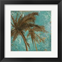 Palm on Turquoise II Framed Print