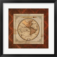 Red Damask Map I Framed Print