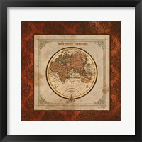 Red Damask Map II Framed Print