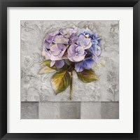 Hydrangeas & Stripes I Framed Print
