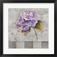 Hydrangeas & Stripes II Framed Print
