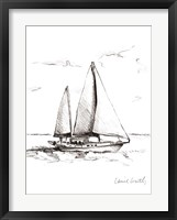 Coastal Boat Sketch II Framed Print