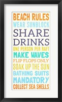 Beach Rules I Framed Print