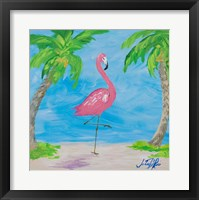 Framed Fancy Flamingos I