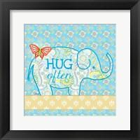 Blue Elephant I - Hug Often Framed Print