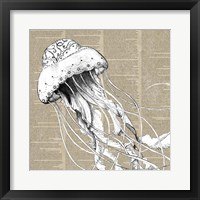 Framed Underwater Newsprint Creatures I