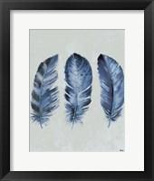 Framed Indigo Blue Feathers II