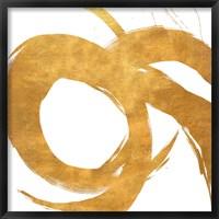 Gold Circular Strokes II Framed Print