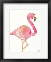 Framed Origami Flamingo