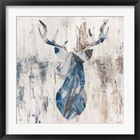 Framed Blue Rhizome Deer Bust