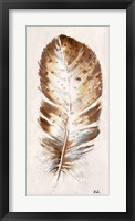 Brown Watercolor Feather I Framed Print