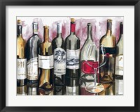 Bottles Reflect on Red I Framed Print