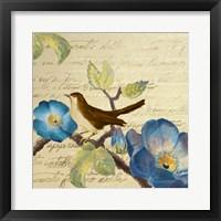 Avian on Blue I Framed Print
