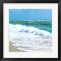 Framed Teal Surf I